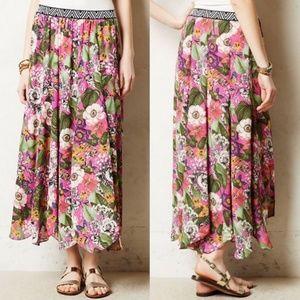 Anthropologie Maeve Banda Pink Floral Maxi Skirt